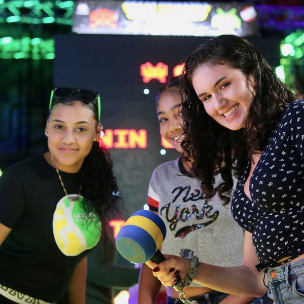 Girls playing in arcade at Launch Trampoline Park