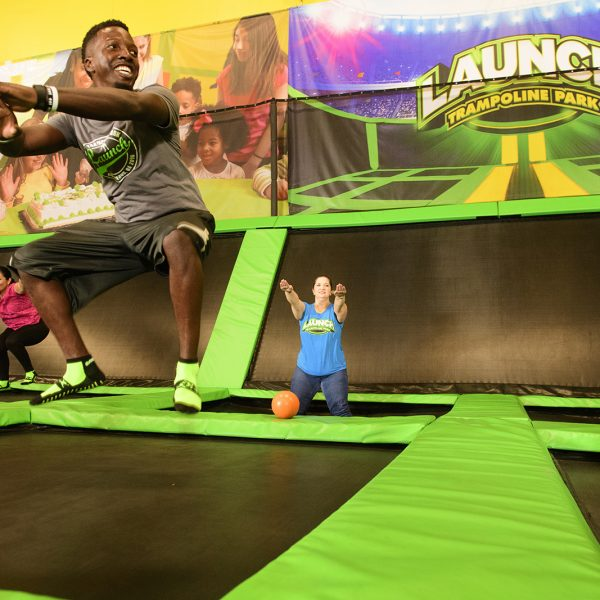 Group of people jumping at Launch Trampoline Fitness Classes